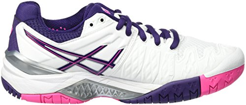 Asics Gel-Resolution 6 W, Chaussures de Tennis Femme Bianco (White/Parachute Purple/Hot Pink)
