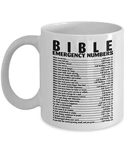Tasse Bibel, Notrufnummer, christlicher Vers, Kaffeetasse, lustiges Reisegeschenk für Oma, Opa, Männer, Vater, Frauen, Mutter, 312 ml, weiße Keramik