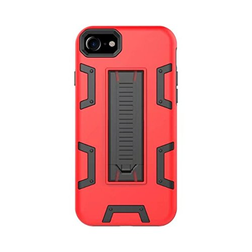 iPhone 8 Coque, Lantier [Robot Series] Slim Armor Fit Dual Layer Hybrid Protective Case Advanced Shock Absorption Protection High Impact Resistant Hybrid Case with Kickstand pour Apple iPhone 8 Noir rouge