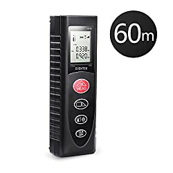 Laser Distance Meter, Eventek Portable Laser Measure Tool with Backlight, Distance Measure for Volume/Area/Pythagorean Batteries Included (60M)