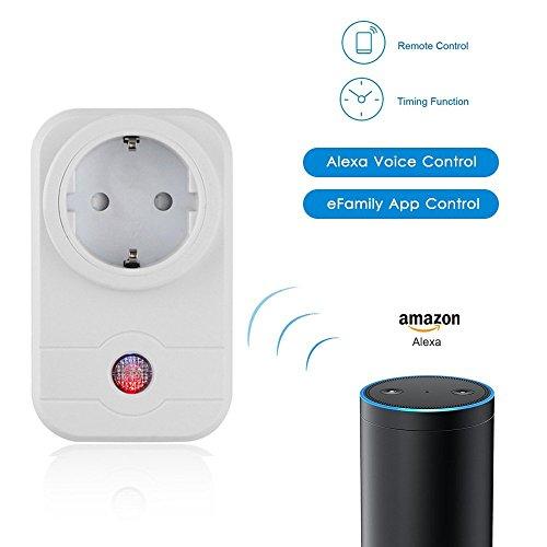 Preisvergleich Produktbild WiFi Smart Steckdose AMAZON ECHO und APP Steuerung Funk Smart Switch Socket Smartphone Steuerung für IOS und Android für Haus und Büro Ferngesteuert funktioniert mit Amazon Alexa [Echo, Echo Dot] [Energieklasse A++] - Weiß