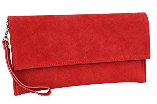 AMBRA Moda Pochette da giorno da donna Borse a mano clutch in vera pelle scamosciata WL811 (Rot)