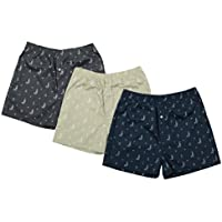 The Cotton Company Men's Cotton Printed Boxer Shorts - Pack of 3 (Boxers004_Combo_Grey_Beige_Navy_M)
