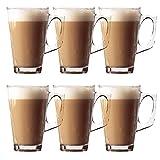 Glow Lot de 6 Verres à latte - Lot de tasses à café élégantes de 11cm,...
