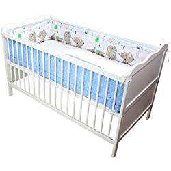 TupTam Baby Nestchen für Babybett Gemustert, Farbe: Elefanten Blau, Größe: 420x30cm (für Babybett 140x70)