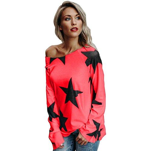 Frauen Sternmuster Tops, SHOBDW Damen Tops Mode Frauen Mädchen reizvolles aus Schulter großen schwarz Stern gedruckt Sweatshirt Langarm Oversize Weiß Pullover Tops Bluse (Rot, S)