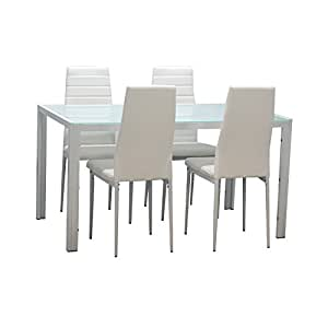 EBS White Glass Dining Table And 4 Chairs Dining Room Furniture Set Modern