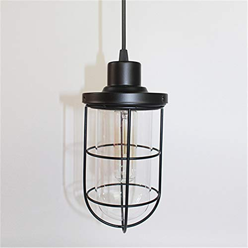 Amber Bulb Cover (Vintage Pendelleuchte Loft Eisen Industrial Style Home Beleuchtung Wohnzimmer Bett Zimmer Eisen Suspension Leuchte E27 Lampen Basis With glass cover Without bulb)