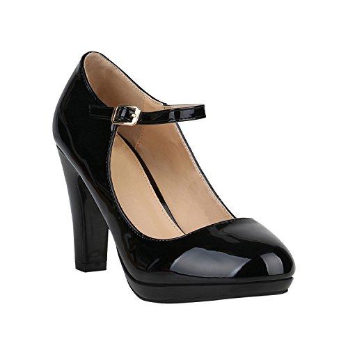 Damen Pumps Mary Janes Blockabsatz High Heels T-Strap 155273 Schwarz Lack Agueda 38 Flandell (Schwarz High Pumps Heel)