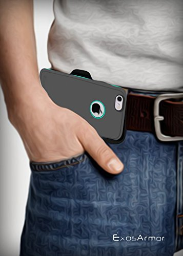 "Apple iPhone 6S Plus ""Exos Armor"" Tough Case & Belt Clip (Quick-release Holster Design) (Gray/Teal) Gray/Teal"