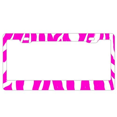 qidushop Zebra Streifen Pink Weiß Auto Chrom Lizenz Cover Rahmen Rahmen New Plate Tag Schild für Männer Frauen -