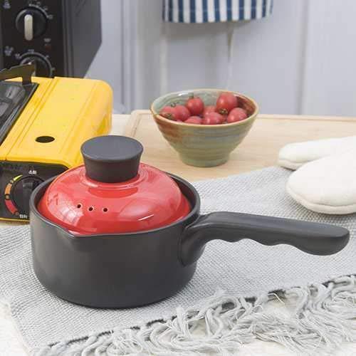 Marcu Home Bratpfannen Woks & Pfannenpfannen Babynahrungsergänzung Emaille Einzelgriff mit Deckel Topf Keramik Pasta Reisnudel Milch Milch Hot Pot, grün (Color : Red)