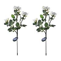 OurLeeme Roses Solar Flower Lights, 3 LED Light Outdoor Waterproof Landscape Decorative Lamp for Garden Lawn Balcony Illumination,2 PCS