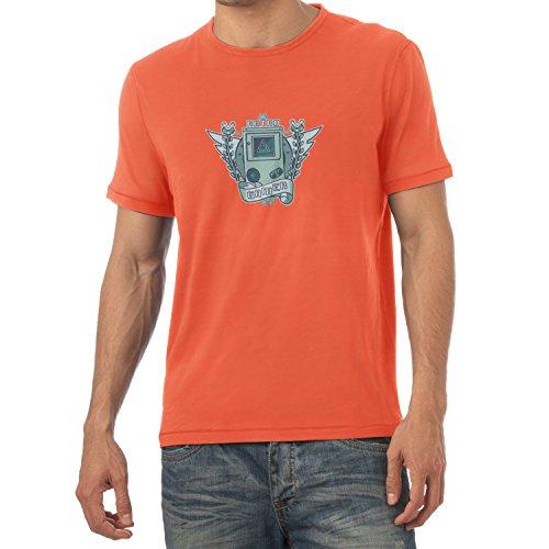 NERDO - Retro Gamer Logo - Herren T-Shirt, Größe L, (Orange Tetris Kostüme)