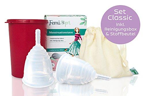 2 Menstruationstassen-festeres medizinisches Silikon aus DE/AT-sichere nachhaltige Monatshygiene-Reinigungs-Becher-Stoffbeutel-Classic-Größe S und L