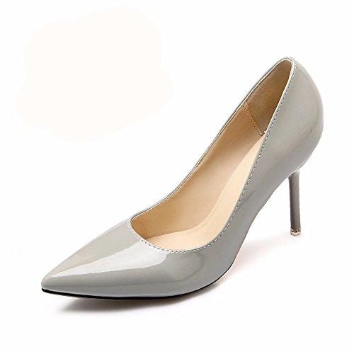 HXVU56546 Il Nuovo Elegante E Tacchi Alti In Primavera E In Autunno Scarpe Donna Single Scarpe Scarpe Da Lavoro Gray