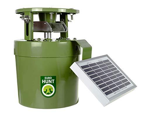 EUROHUNT Futterautomat Light 6V, Komplettset, Automat für Tierfütterung mit Solarpanel & 6V-Akku + Ladekabel, wetterfest, grün, ca. 22,5 x 20,5 x 18cm