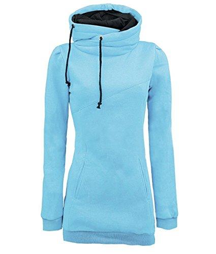 iMELY Damen Kaputzenpullover Hoodie Pullover Frühling Herbst Sweatshirt Langärmelig Kaputzen Outerwear, Hellblau, Gr. XXL