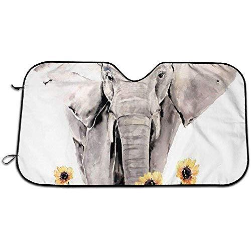 Bing Bo-Car Sun Shade Elefante Acuarela Coche Parabrisas Sombrilla Coche Plegable Sombrilla_Portable Mantenga el vehículo Fresco- (70 * 130 cm)