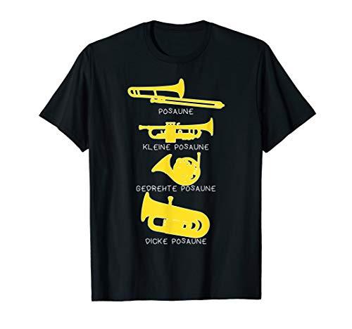 Lustiges Posaune T-Shirt Arten von Posaunen witzig Blasmusik