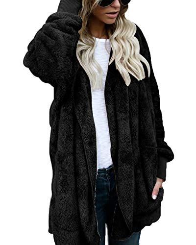 Puluo Women's Faux Fur Cardigan Jacket Hooded Dolman Sleeve Coat for Winter Black XXL