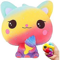 Blesser Squishy Gato, Anti Stress Squishy Jumbo Juguete Hielo Kawaii Galaxy Pas Slow Rising Toy de Animal de Regalo de cumpleaños para niños, Adulto Anti presión TDA/TDAH/ADHD Autismo Squeeze Toy