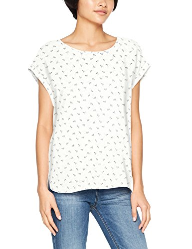 TOM TAILOR Denim Damen Bluse Printed Sporty Blouse Top, Elfenbein (Ecru 8002), Medium (Bluse Top Elfenbein)