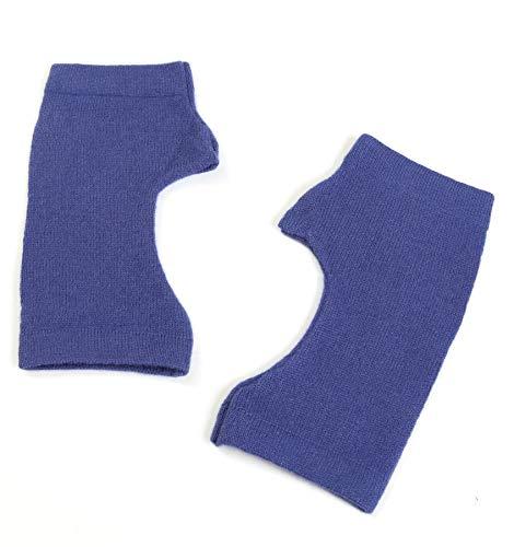 Prettystern Pulswärmer Unifarbe Handschuhe Fingerlos Hand-fingerlose Stulpen 100% Kaschmir Weich Warm - Lila Blau