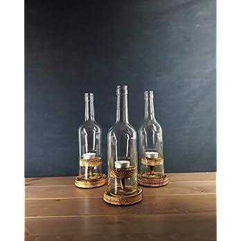 """Weinflaschen – Windlicht, Nr. 2 Rustikal"""" 3er Pack"""