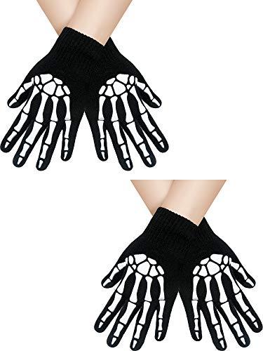 SATINIOR 2 Paar Halloween Handschuhe Skelett Handschuhe Vollfinger Strickhandschuhe Knochen Schädel Handschuhe Fäustlinge (Schwarz 1)