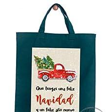 Gallaecia Studio Bolsa de tela de algodón verde con asa corta para regalos.
