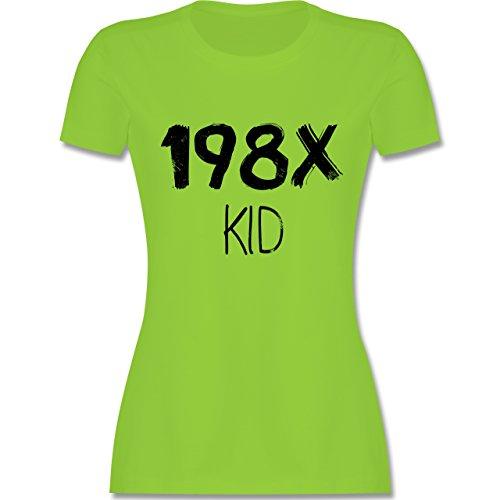 Geburtstag - 198X Kid Vintage - M - Hellgrün - L191 - tailliertes Premium T-Shirt mit Rundhalsausschnitt für Damen (Vintage 80er Jahre T Shirts)