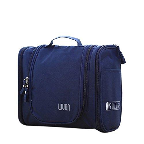 Beauty Case da viaggio, Hipsteen Multifunzione Zipper toilette borse da viaggio Organizer Hanging Wash sacchetti di immagazzinaggio di trucco Borse Caso Cosmetic - Blu scuro - Borsa Di Opp