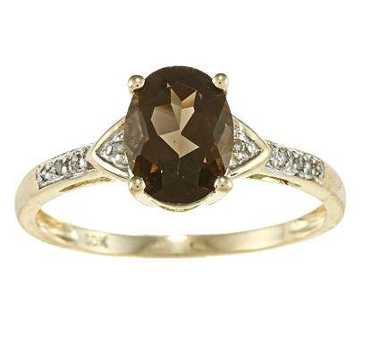 10k Yellow Gold Oval Smokey Quartz and Diamond Ring (1/10 TDW) - size 8
