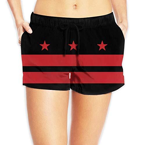 Dc Womens Shorts (ZKHTO Washington DC Flag Women Beach Shorts Beach Board Shorts,Size:XXL)