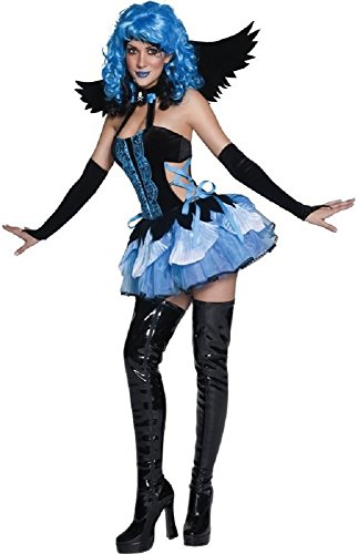 Damen Blau Verseucht Fairy Pixie Fallen Angel Halloween Fancy Kleid Kostüm Outfit 8-18