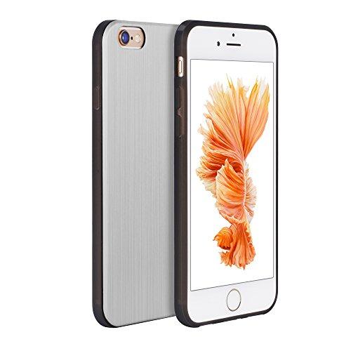 OATS Coque Etui pour Apple iPhone 6 Plus, 6s Plus Case Bumper Aluminium Look - en Or Argent