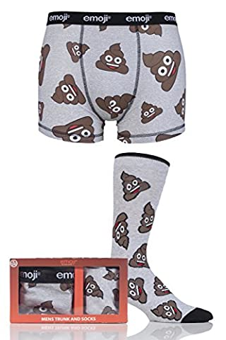 Mens SockShop Emoji Poo Boxers and Socks Set in Gift Box Gris Extra Large