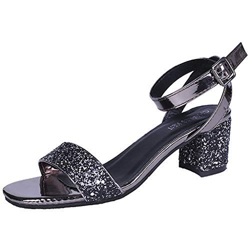 Sandalen für Frauen, fazry Fashion Frauen Schnalle Pumps High Heel Sandalen Hochzeit Party Strass Schuhe, Schwarz - Schwarz - Größe: 35 EU