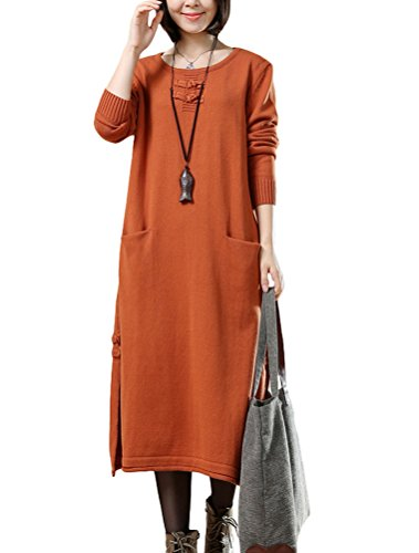 MatchLife Femme Col Rond Frog Button Pull Robe Style2-Orange