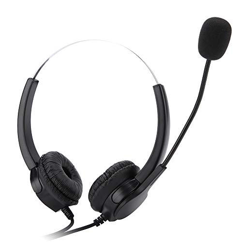 VBESTLIFE Telefono Cuffie Microfono con Regolazione del Volume e Muto Call Center Headset cancellazione del Rumore per Portatili o Desktop con Single 2.5 mm Jack