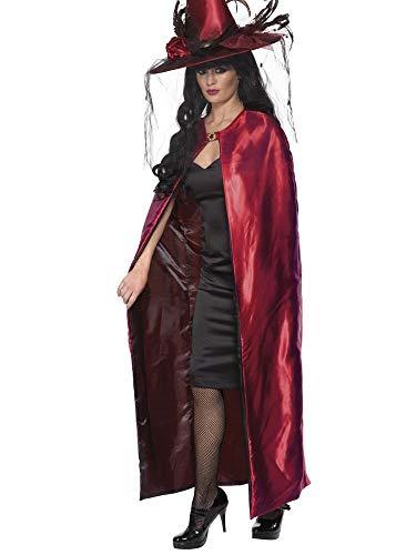 shoperama Wende Umhang Rot/Schwarz Erwachsene Cape Zauberin Vampir Magier Hexe Hexer Märchen Damen Herren Kostüm-Zubehör