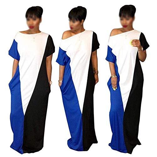 Hukangyu1231 Womens Off Schulter Seite Rundhalsausschnitt beiläufige lose Lange Maxi Kleid Damen Halloween Kostüm (Farbe : Blue+White+Black, Größe : M)