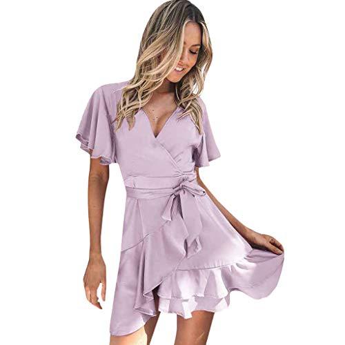 Damen Wickelkleid, kurzes Rüschen, V-Ausschnitt, Schmetterlingsform, kurze Ärmel, massives Aline, Swing Mini-Kleid, loose plain maxi dresses, violett, Medium -