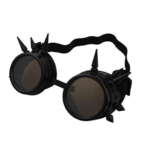 Sannysis Rivet Steampunk Winddicht Spiegel Weinlese-gotische Objektive Goggles Glasses (Schwarz)