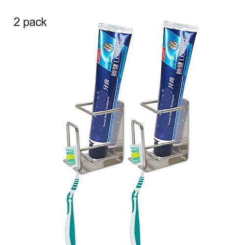 handingsm Zahnbürstenhalter mit gurgeln Cup Zahnpasta-Halterung, selbstklebend Wand montiert Edelstahl Zahnbürste Zahnpasta Halter für Bad oder Küche 2er-Set (Zahnbürstenhalter Montiert Wand)