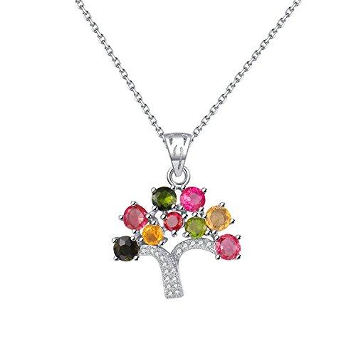 COLORFEY Kette Damen Silber mit Stein Baum Anhänger Silber Turmalin Halskette Verstellbar 40-45cm -