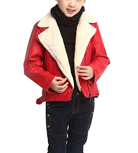 Niños Niñas Chaqueta Cuero Sintético - Espesor Abrigos De Invierno Cazadoras Outwear Rojo 150cm