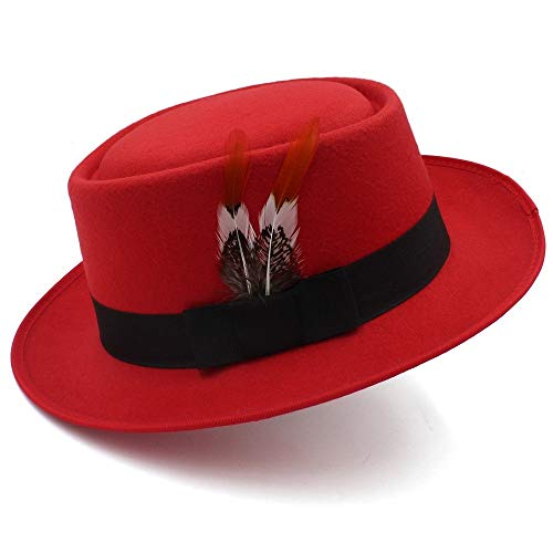 Krempe Kappe Woolen Zylinder-männlicher britischer Jazz-Hut-weiblicher Feder-Gentleman-Fedora-Hut Herbst und Winter Kopfbedeckungen (Farbe : Rot, Größe : 56-58CM)