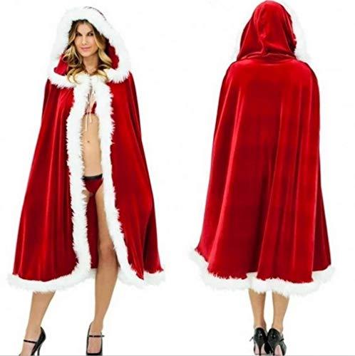 Weihnachtsfrauen roter mit Kapuze Umhang Santa Cosplay Kostüm für Maskerade (Kinder Mrs Santa Kostüm)